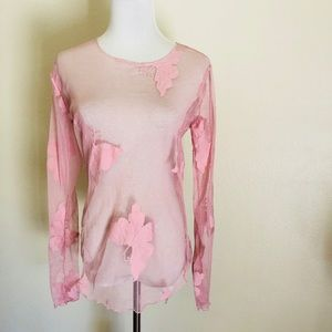 Karen Kane pink lace butterfly blouse, size S